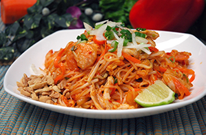 "Pho Dui Bo ""Pad Thai"" Stir Fried Rice Noodle with Chicken & Shrimp"
